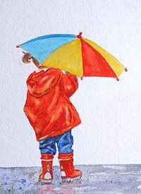 General child girl umbrella red yellow blue friend mum daughter Nan aunt for-children personalised online greeting card