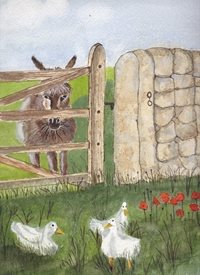 art Donkey field ducks flowers animals countryside poppies personalised online greeting card