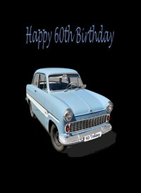 Birthday Old Car Blue Black 60 z%a personalised online greeting card