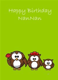 Birthday  Owls flower brown green red  nan animals z%a personalised online greeting card