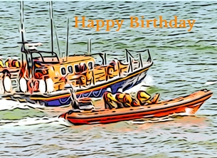 birthday  lifeboat orange sea rescue RNLI boy son dad granddad grandpaCoast child  for-him personalised online greeting card