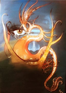 General FIRE, FACE, OILS, CANVAS, DRAGON, SCIFI, QUIRKY, UNUSUAL, ABSTRACT, HORROR, DREAMS, TATTOO, ORANGE, BLUE, SEA, CREATURE, TENTACLE, OCTOPUS, ALIEN, SURREAL personalised online greeting card