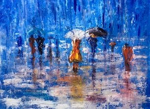 art umbrella,umbrellas,abstract personalised online greeting card