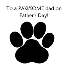 Fathers Awesome, amazing, love, animal, footprint, dog, cat personalised online greeting card