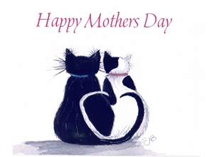 Black and White Cat Mothers Day Card