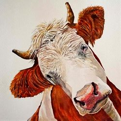 General artwork cow animals  farm for-him for-her personalised online greeting card