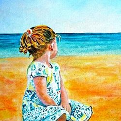 Art child  beach sea  dad son  granddad  uncle mum daughter Nan aunt friend for-children personalised online greeting card