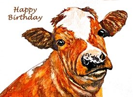 Birthday artwork cow animals farm  for-him for-her personalised online greeting card