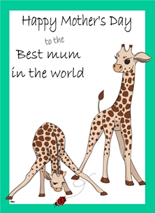 Her Nibs  Mother's Day Giraffe's Mothers For Her Mother's Day Giraffe Lady Bird Green White Brown Black  personalised online greeting card