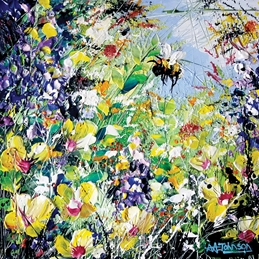 art bees, bee cards, bumble bees, wildflowers, gardens, impressionist art, contemporary art, gardens, colourful cards, her birthday, thinking of you, celebrations, personalised online greeting card