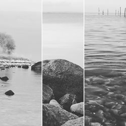 photography  lake water black white grey sea rock mist  quiet calm soft  for-her personalised online greeting card