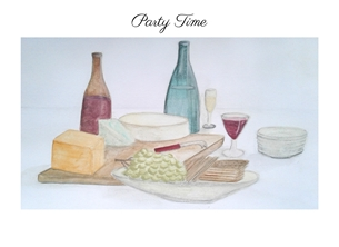 General PARTY celebrations new year wine cheese grapes adults watercolour for-her personalised online greeting card