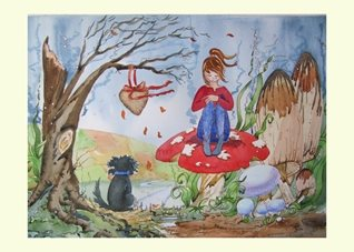 General art Fantasy, dogs, fairy, fairies, fae, rainbow, bridge, toadstool, sad, pets, personalised online greeting card