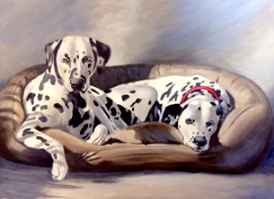 art Dalmations, dog, dogs, artist, fine art, painting personalised online greeting card