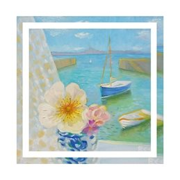 art harbour, flowers, sea, coast, fishing village, roses, personalised online greeting card