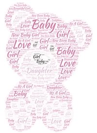 baby new baby, new baby girl, pink, teddy  personalised online greeting card