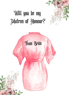 Her Nibs  Will you be my Matron of Honour? wedding Bath Robe  personalised online greeting card