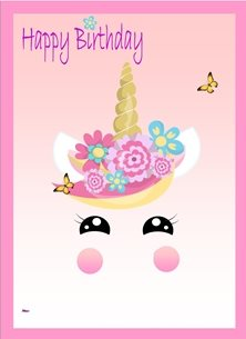 Birthday Unicorn Face Flowers Pink Blue Yellow Happy  children personalised online greeting card