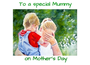 Mothers lady woman child boy trees red blue green red for-her mummy personalised online greeting card