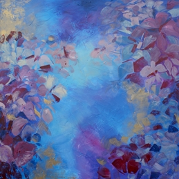 art Hydrangeas abstract fine art painting personalised online greeting card