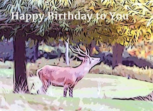 Birthday BIRTHDAY red Deer Stag watercolour nature animals wildlife parks male son dad grandfather uncle -him -her for-him for-her for-child personalised online greeting card