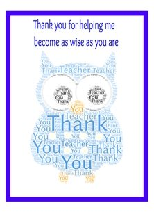 school blue, owl, thank you, teacher, end of term  personalised online greeting card