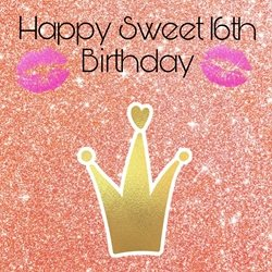 PinkWave Designs Sweet 16th Birthday Occasion, happy personalised online greeting card