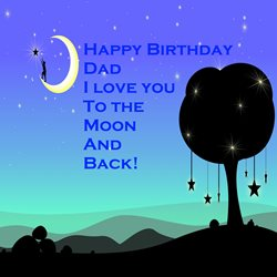 Birthday for-him, moon, stars, dad, blue, tree personalised online greeting card