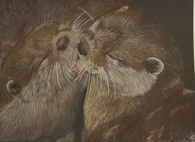 General Otter, otters, wildlife, fine art, animals, in love, kiss personalised online greeting card