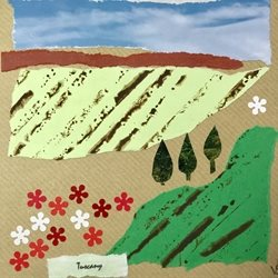 General Tuscany Italy field flowers poppies landscape collage personalised online greeting card