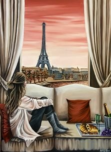Art By Three  Parisian Dreams art Anniversary her mums girlfriends Paris Eiffel Tower rivers Cities sunsets woman glasses croissants food celebrations lovers sofas red holidays romance romantic birthday lovers sisters valentines girlfriends boyfriends couples for-him for-her  personalised online greeting card