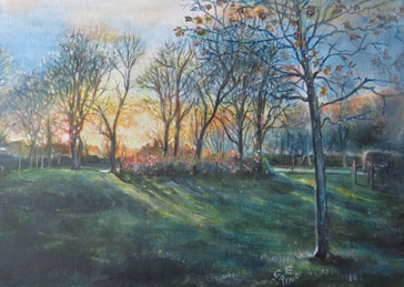 General sunrise, park, trees, landscape, sun, fresh start, promise, joyful, hope personalised online greeting card