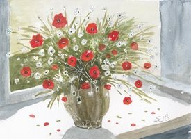 General Poppies and daisies on sunny windowsill Flowers personalised online greeting card
