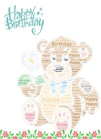 Birthday teddy  bear flowers  personalised online greeting card