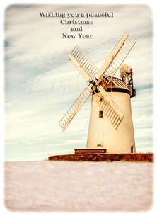 christmas year Christmas, Xmas, snow, windmill, peaceful, serene, warm, northern ireland personalised online greeting card