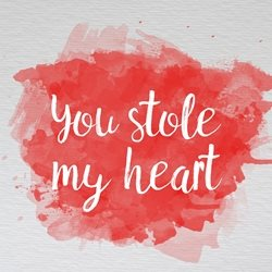 Raluca Curcan You stole my heart Valentines you stole my heart greeting cards made with love by raluca curcan red paint personalised online greeting card