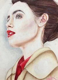 art Beautiful Lily Collins in red lipstick, z%a personalised online greeting card