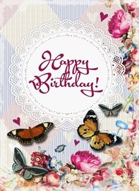 Birthday Butterfly  flowers z%a personalised online greeting card