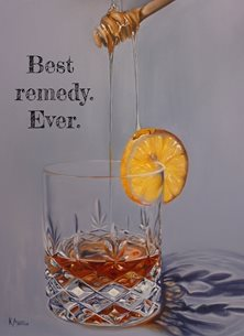 Kay Ashton Fine Art Hot Toddy (Best Remedy. Ever,) artistic hot toddy, remedy, cold remedy, flu remedy, whisky, whiskey, brandy, honey, runny honey, oil painting, realism personalised online greeting card