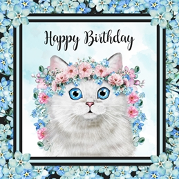 Snappyscrappy Birthday Card Birthday Cat, white cat, persian, floral, female, for-her personalised online greeting card