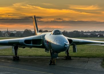 Photography Vulcan, sunset, aeroplane, airplane, plane, avro, cold war, bomber personalised online greeting card
