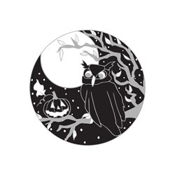 Black Bunny Designs and Greetings Wise Owl Halloween Owl, Pumpkin,  Spooky, Full Moon, Jack-o-lantern , fall, autumn, harvest, day of the dead personalised online greeting card