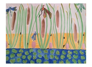 General wildlife, dragonflies bullrushes art mixed media water  personalised online greeting card