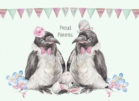 baby birds, cute, blue, pink, green personalised online greeting card