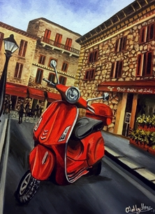 Art By Three  Vespa Rossa Art red vespa mopeds iconic motorcycles street buildings italian piaggio for-him for-kids vehicles piazza red scooters classic Italian fathers personalised online greeting card
