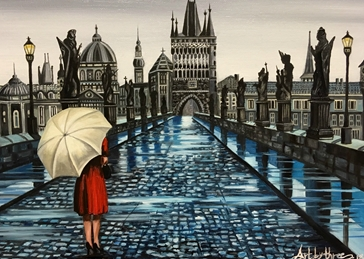 art Anniversary her mums girlfriends Prague Charles Bridges rivers Cities rain woman reflections umbrellas puddles romance romantic birthday love for-him for-her  personalised online greeting card