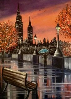 General art New York umbrellas rain reflections for-him for-her skylines night time trees autumn leaves man walking alone benches lamposts purple orange skies puddles cities oils  general blank all occasions art  personalised online greeting card