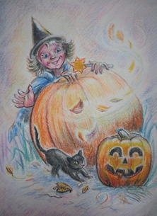 halloween  greeting cards by Little Liz Happy Art witch, black cat, pumpkin, leaves, wind, wand, Autumn,  fun, for-children Halloween fun
