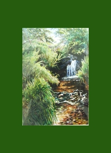 art waterfall, water, stream, sunlight, trees, nature, green, for-him, for-her personalised online greeting card