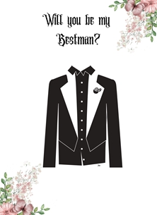Her Nibs  Will you be my bestman? wedding Floral, best man personalised online greeting card